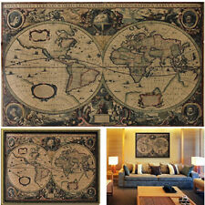 Vintage Style Retro Cloth Poster Globe Old World Nautical Map Gifts Wall Decora