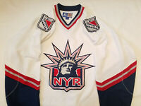 New York Rangers jersey Starter White Mens Large Lady Liberty L NHL NYR
