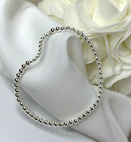 Sterling Silver Swirl Bead Bracelet - Variety of Sizes - Stretch or Clasp