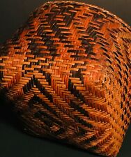 Rare 19Th C Cherokee Rivercane Basket,Extraordinary Walnut&Bloodroot Dye Designs
