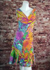 Lauren Ralph Blue Green Purple Orange Floral Sheath Flared Dress Size 6