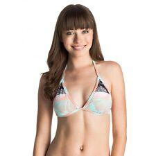 Roxy Extra Small Black Print Binded Tiki Tri Bikini Swimsuit Top XS NWT