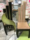 """PAIR ART DECO-HOLLYWOOD REGENCY-TALL-HEAVY UPHOLSTERED/WOODW/GOLD CHAIRS 50""""HIGH"""