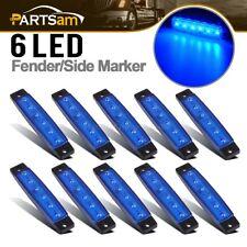 10Pcs 6-LED Super Blue Clearance Side Marker Trailer Light Van Waterproof 3.8in.