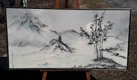 "Sonia Gil Torres Asian Landscape, Original Oil Painting, 24"" x 48"", signed left"
