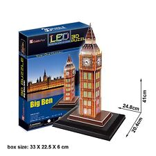 Big Ben London 3D Puzzles With Base & LED Lights DIY Fun Jigsaw