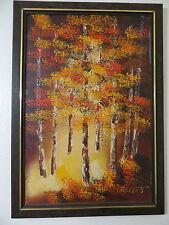 beauty!listed vintage 'GARRET' mid century O/C autumn scene 29x41 ex cond!