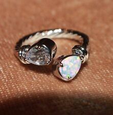 white fire opal topaz ring gemstone silver jewelry Sz 6 modern engagement band H