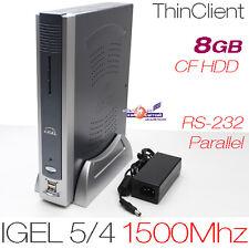 1500MHZ MINI COMPUTER PC 512MB DDR2 RAM 8GB CF MIT RS-232 DVI PARALLEL PCI 12V