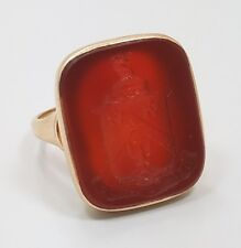 Vintage Antique 14k Yellow Gold Carnelian Seal Wax Ring Size 10.5