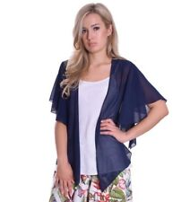 Cardigan Summer Cover Up Sheer Chiffon Navy Blue Open Loose Fit With Pearl 16/18