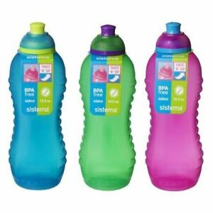 Sistema Squeeze Drinks Bottle 460ml Lime, blue and pink