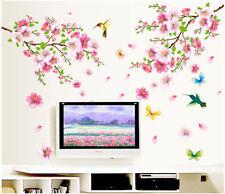 Peach Blossom Flowers Tree Branch Birds Butterfly Wall Sticker Art Wall Decal
