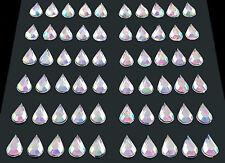 selbstklebende Schmucksteine/ Glitzersteine Tropfen 5 x 8 mm silber irisierend