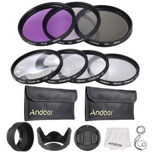 Andoer 55mm UV+CPL+FLD+Close-Up(+1+2+4+10)Filter Kit+Camera Accessories Set V5J3