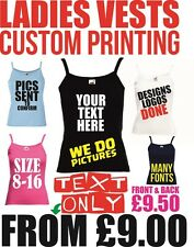 personalised Text vest printing Womens custom tops hen gym holiday vests printed