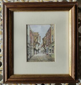 Framed Print York The Shambles In Wooden Frame With Gold By Alan Stuttle Gallery