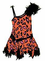GIRLS A WISH COME TRUE Size XLC XL Dance Costume Orange Animal Print Feathers