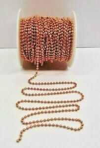 100% COPPER Ball Chain ~ Faceted Bead ~ 3.2mm ~ w/ or w/o Connectors Made in USA