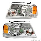 Amber Corner Chrome Housing Headlight Lamps Fit For 2004-08 Ford F150 Lincoln