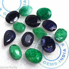 80.10 CTS+/13 PCS NATURAL GREEN EMERALD & BLUE SAPPHIRE LOOSE RING SIZE GEMS qty