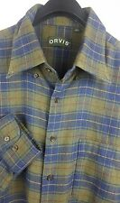 ORVIS Mens Green Blue Plaid L/S Flannel Button Down Shirt XL Cotton