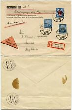 GERMANY DANZIG RPF SURCHARGE + HINDENBURG 1939 on NACHNAHME ENV + REGISTERED