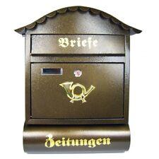 """Briefkasten Postkasten Wandbriefkasten Zeitungsrolle """"Londres"""" 47x37x12cm braun"""