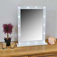 Small White Wooden Hollywood 14 LED Mirror Vanity Make up Dressing Table Light