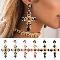 Baroque Style Women Crystal Ear Stud Dangle Earrings Jewelry Gold Cross