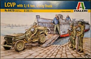 Italeri/Italaerei 1/35 kit#6479 LVCP with 1/4 ton Utility Truck/Jeep & 6 Figures