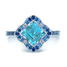 Natural 1.83 TCW 14k White Gold Square Blue Topaz Sapphire Diamond Clover Ring