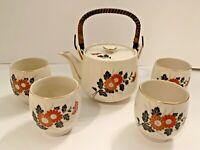 Vintage Japanese Teapot 4 Cups set Tea Pot Japan Bamboo Wire Handle