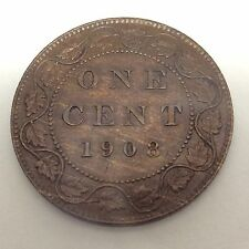 1908 Canada One 1 Cent Large Copper Almost Uncirculated Nice Penny Coin B117