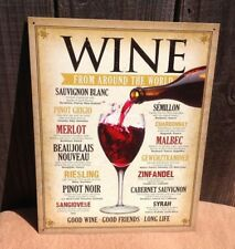 Wine From Around The World Sign Tin Vintage Garage Bar Decor Old