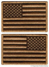 LOT of 2 - AMERICAN FLAG EMBROIDERED PATCH iron-on USA brown desert tan