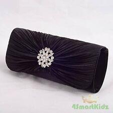 Faux Diamante Black Satin Evening Wedding Birthday Party Clutch Handbag Bag #017