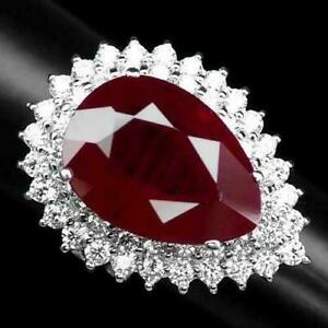 Vintage 20.00 CT Pear Cut Red Ruby Double Halo White Sapphire 925 Silver Ring
