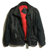 80s/90s STYLE Y2K Mens Gents L Padded Jacket Leather Panel Puffer Bomber Grunge