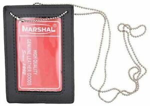 Genuine Leather Neck Chain Double ID Badge Holder, Black