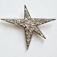 Star Rhinestone Pin Brooch Large Figural Modern Silver Mid Century Vintage