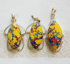 3 Manmade Colourful Turquoise Pendants set in Nickel Silver / German Silver