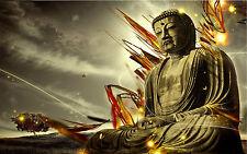 Incorniciato stampa-STONE Buddha su un' astratta sfondo (immagine poster buddista)