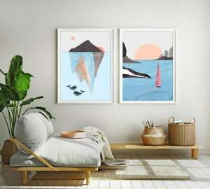 Abstract Seascape Boat and Whales, Nordic Ocean Island Scenery, Art Scandinavian