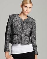 $189 French Connection Women's 4 Velveteen Long Sleeve Collarless Tweed Jacket