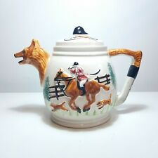 More details for vintage hunting scene horse & fox teapot by portland pottery of cobridge (ppc)