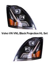 Volvo VN VNL Truck Black Projection Headlight w/ Chrome Bolt Design Set LH + RH