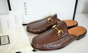 NEW GUCCI *QUENTIN* Brown Leather HORSEBIT LOAFER SLIPPER MULES Slides 9.5 US-10