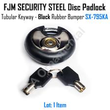 Lock SX-795KA Disc Padlock Tubular Keyway FJM SECURITY STEEL Black Rubber Bumper