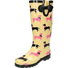 Dachshund Dog Print Wellington Boots Welly Flat Festival Cream Pink Welly Buckle